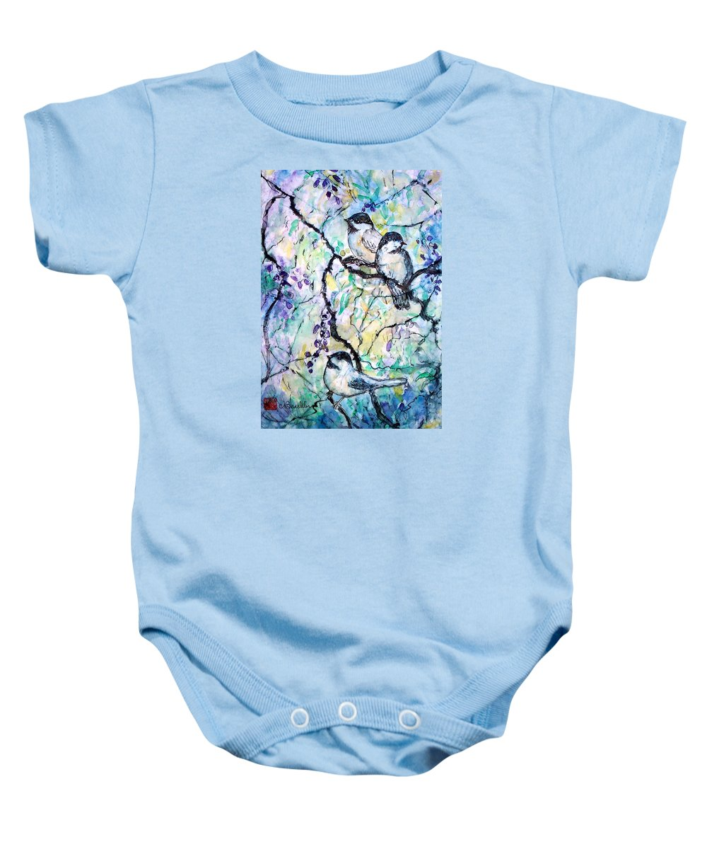 Birds Baby Onesie featuring the painting Chickadees by Norma Boeckler