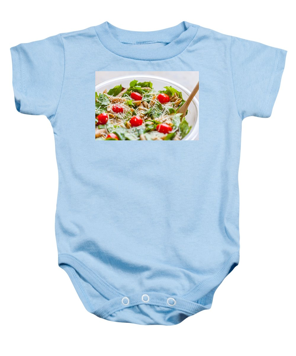 Large Bowl Baby Onesie featuring the photograph Chicken Pasta Salad by Melinda Fawver