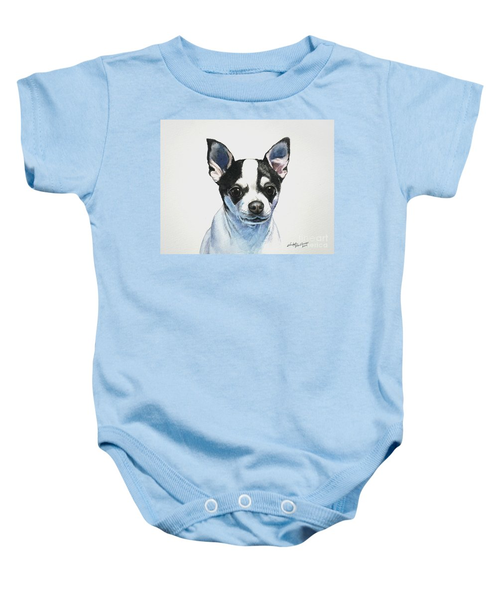 Chihuahua Baby Onesie featuring the painting Chihuahua Black Spots With White by Christopher Shellhammer