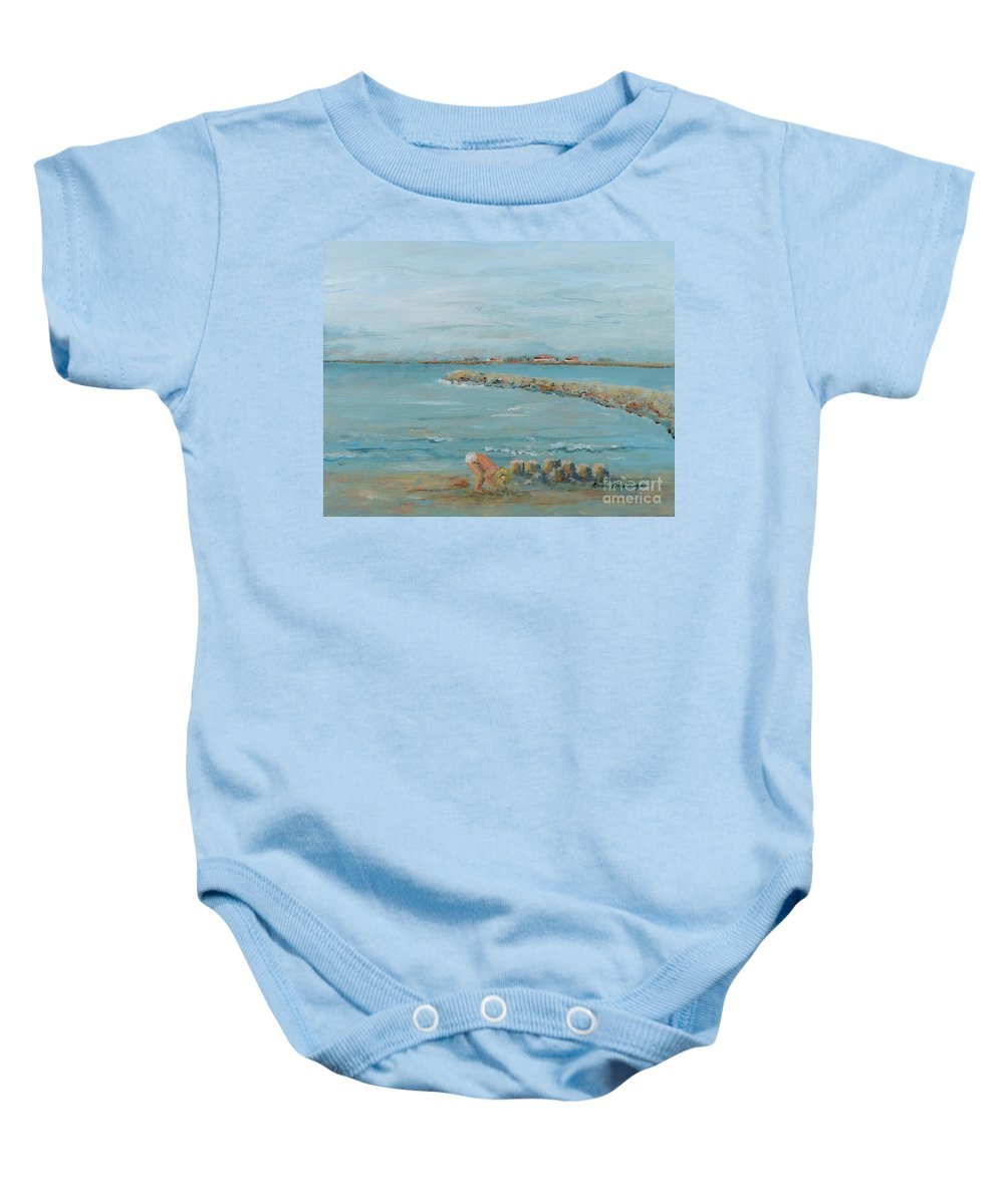 Beach Baby Onesie featuring the painting Child Playing At Provence Beach by Nadine Rippelmeyer