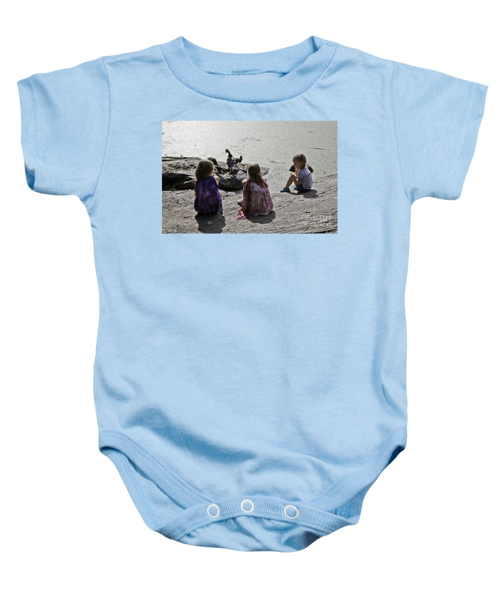 Children Baby Onesie featuring the photograph Children At The Pond 2 by Madeline Ellis