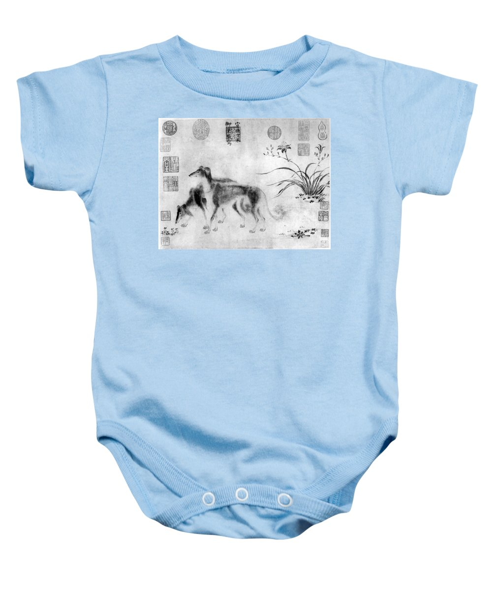 1427 Baby Onesie featuring the photograph China: Dogs by Granger