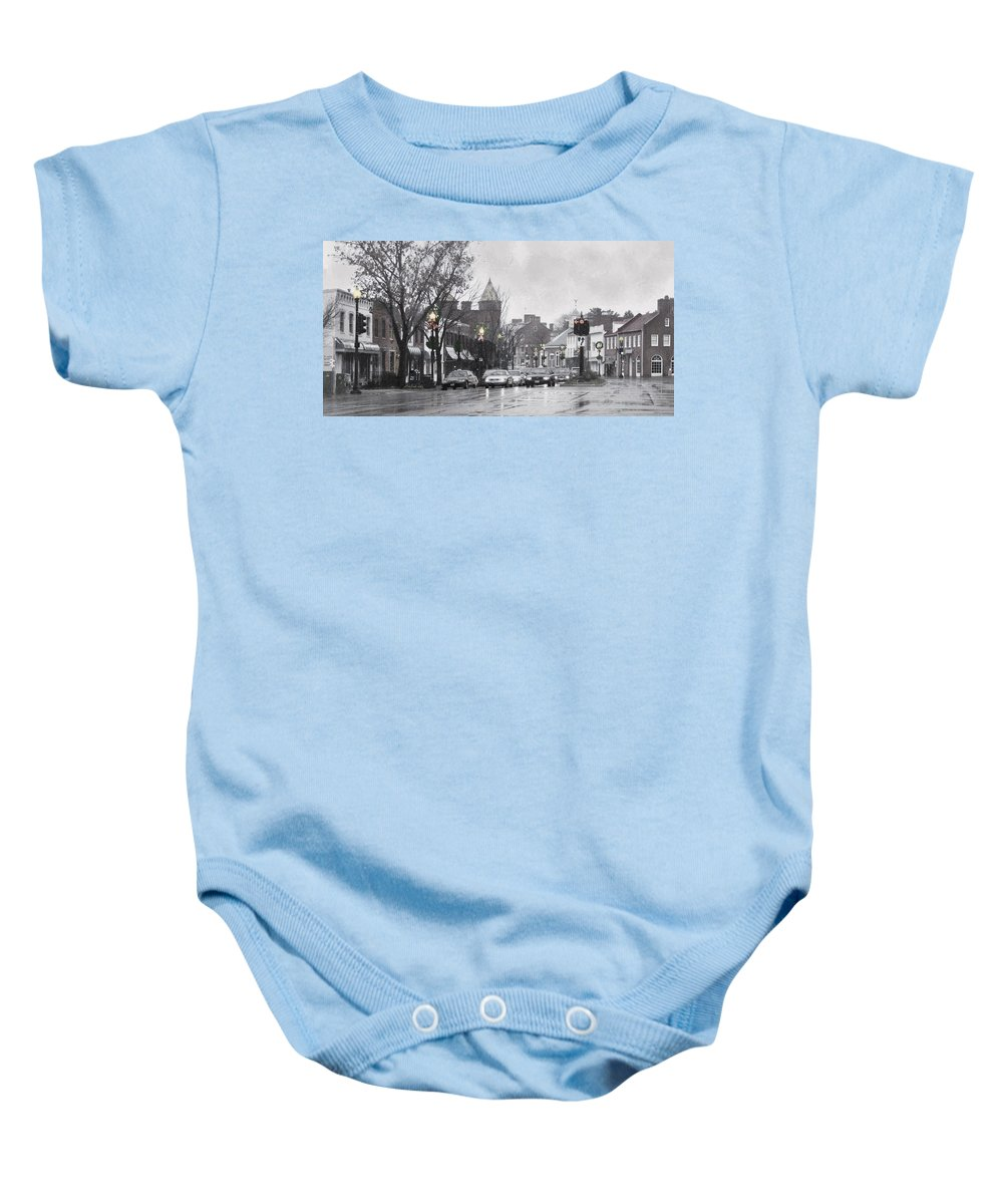 City Baby Onesie featuring the photograph Christmas City Street by Francesa Miller