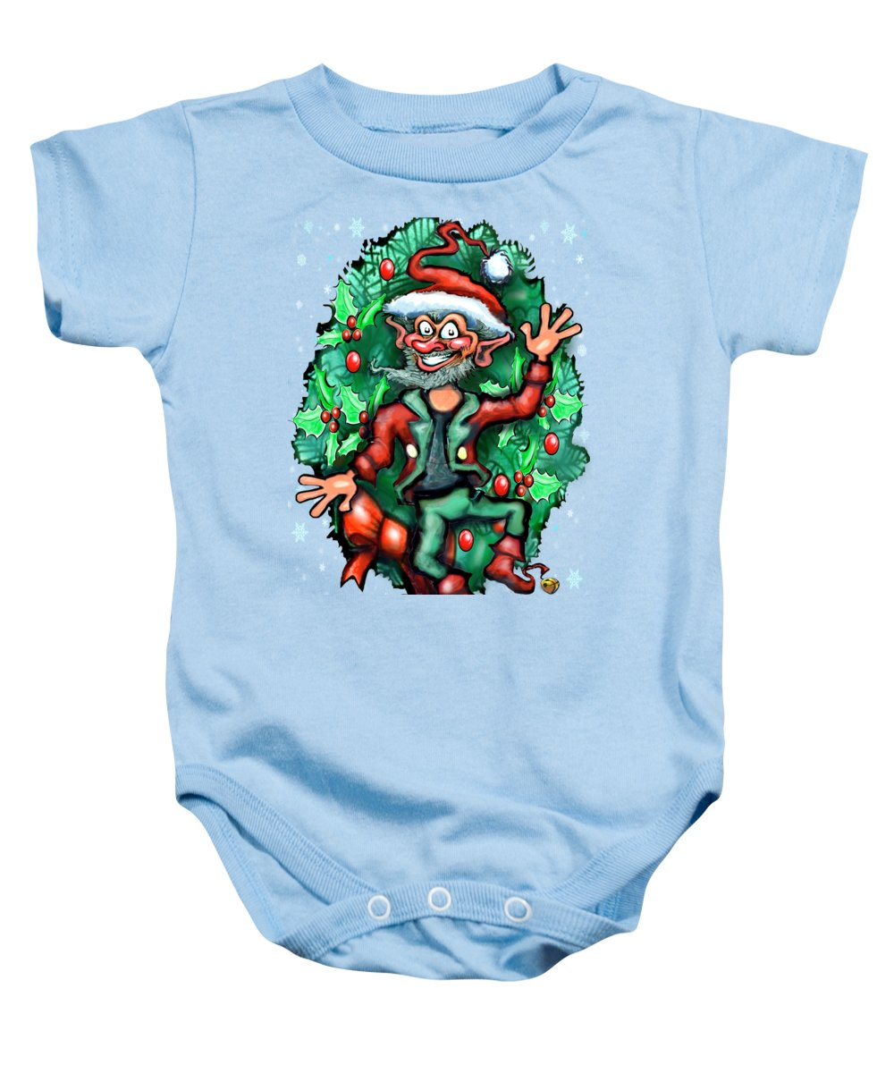 Christmas Baby Onesie featuring the digital art Christmas Elf by Kevin Middleton