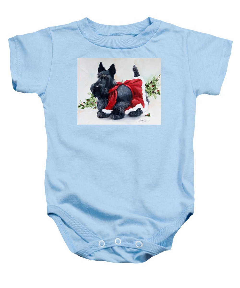 Art Baby Onesie featuring the painting Christmas by Mary Sparrow