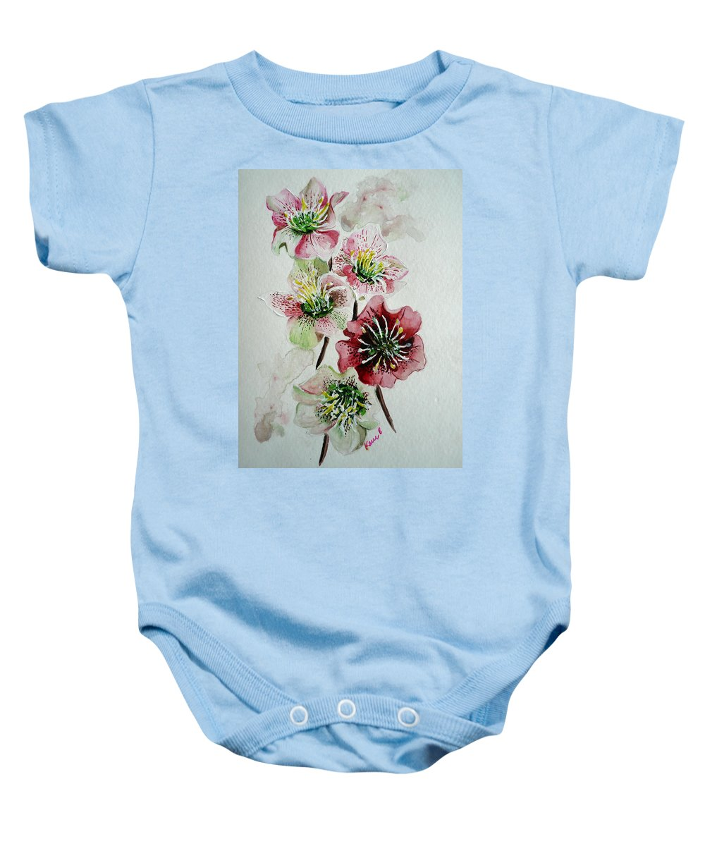Floral Flower Pink Baby Onesie featuring the painting Christmas Rose by Karin Dawn Kelshall- Best