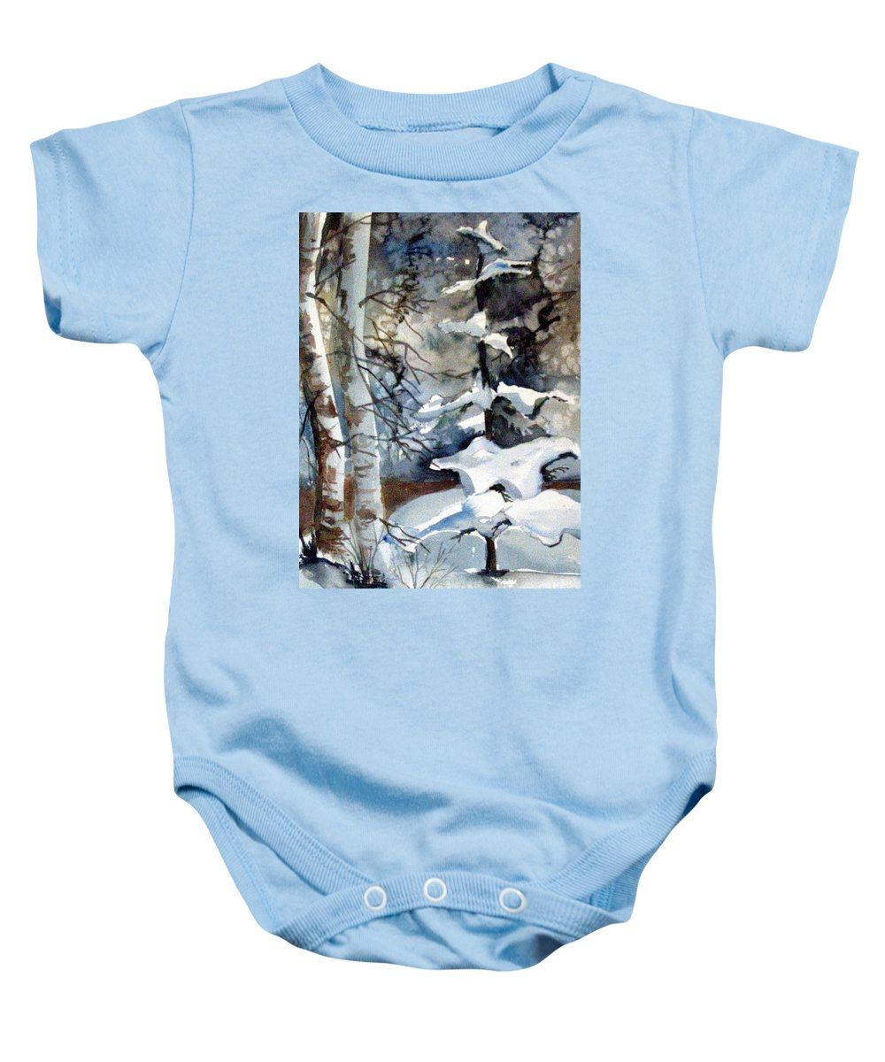 Christmas Trees Baby Onesie featuring the painting Christmas Trees by Mindy Newman