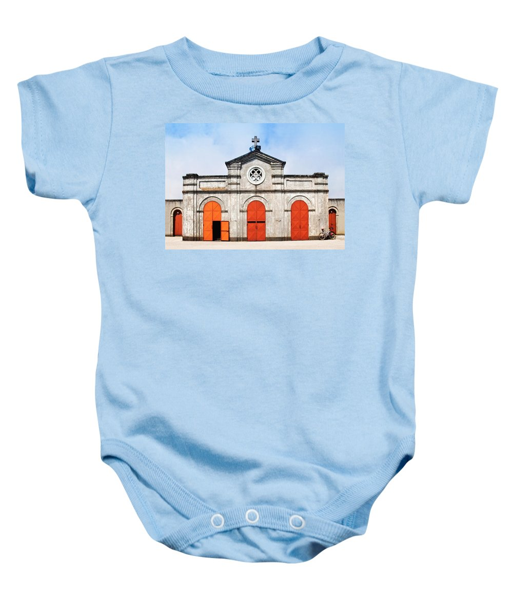 Church Baby Onesie featuring the photograph Church And Bicycle by Silvia Ganora