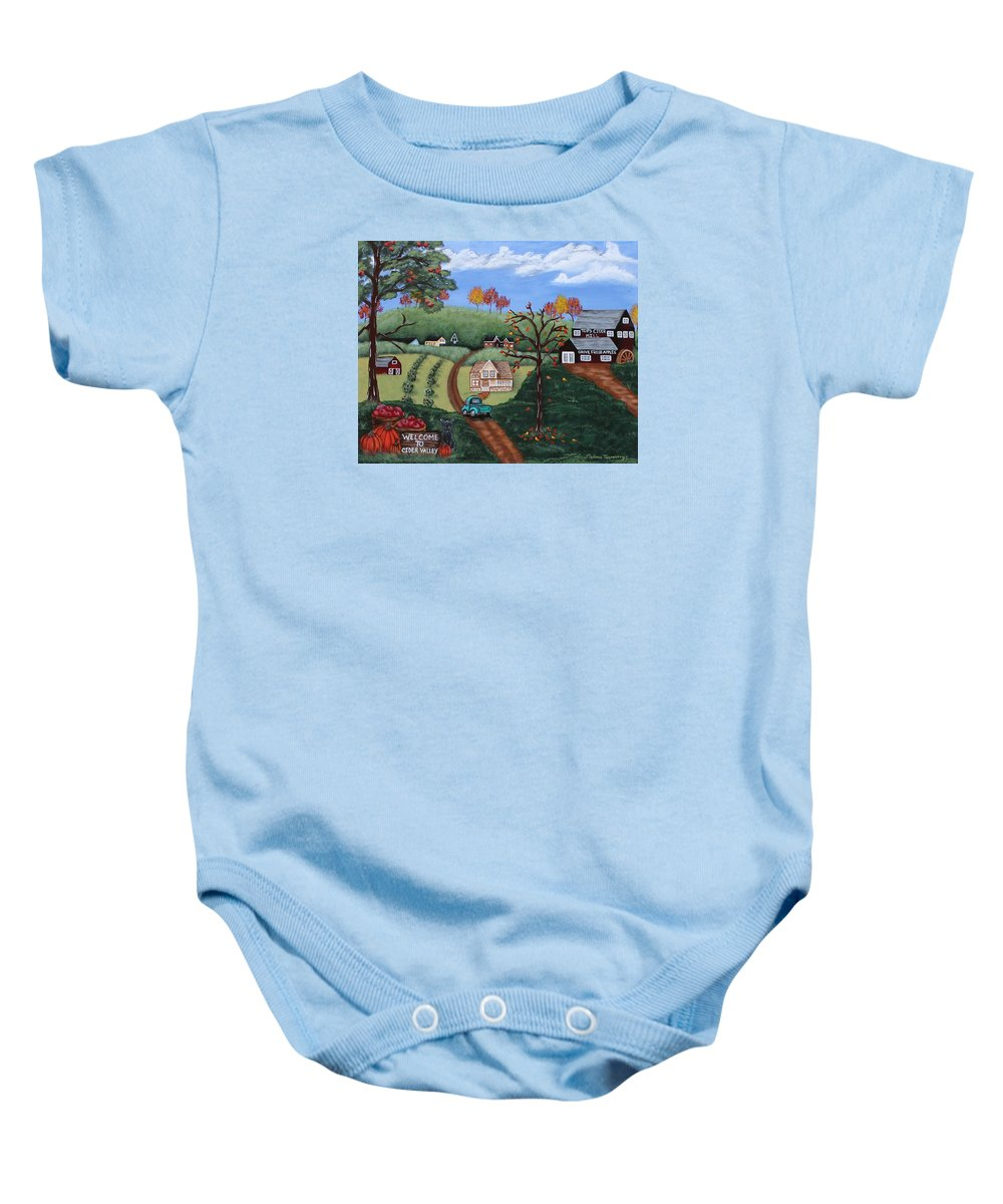 Landscape Baby Onesie featuring the painting Cider Valley by Melissa Toppenberg