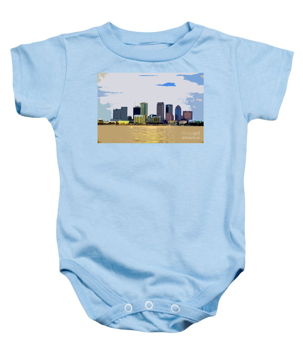 Cigar City Baby Onesie featuring the painting Cigar City Skyline by David Lee Thompson