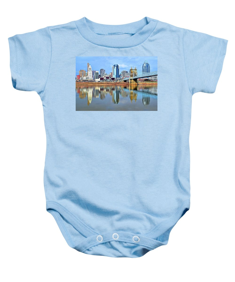 Cincinnati Baby Onesie featuring the photograph Cincinnati Ohio Times Two by Frozen in Time Fine Art Photography