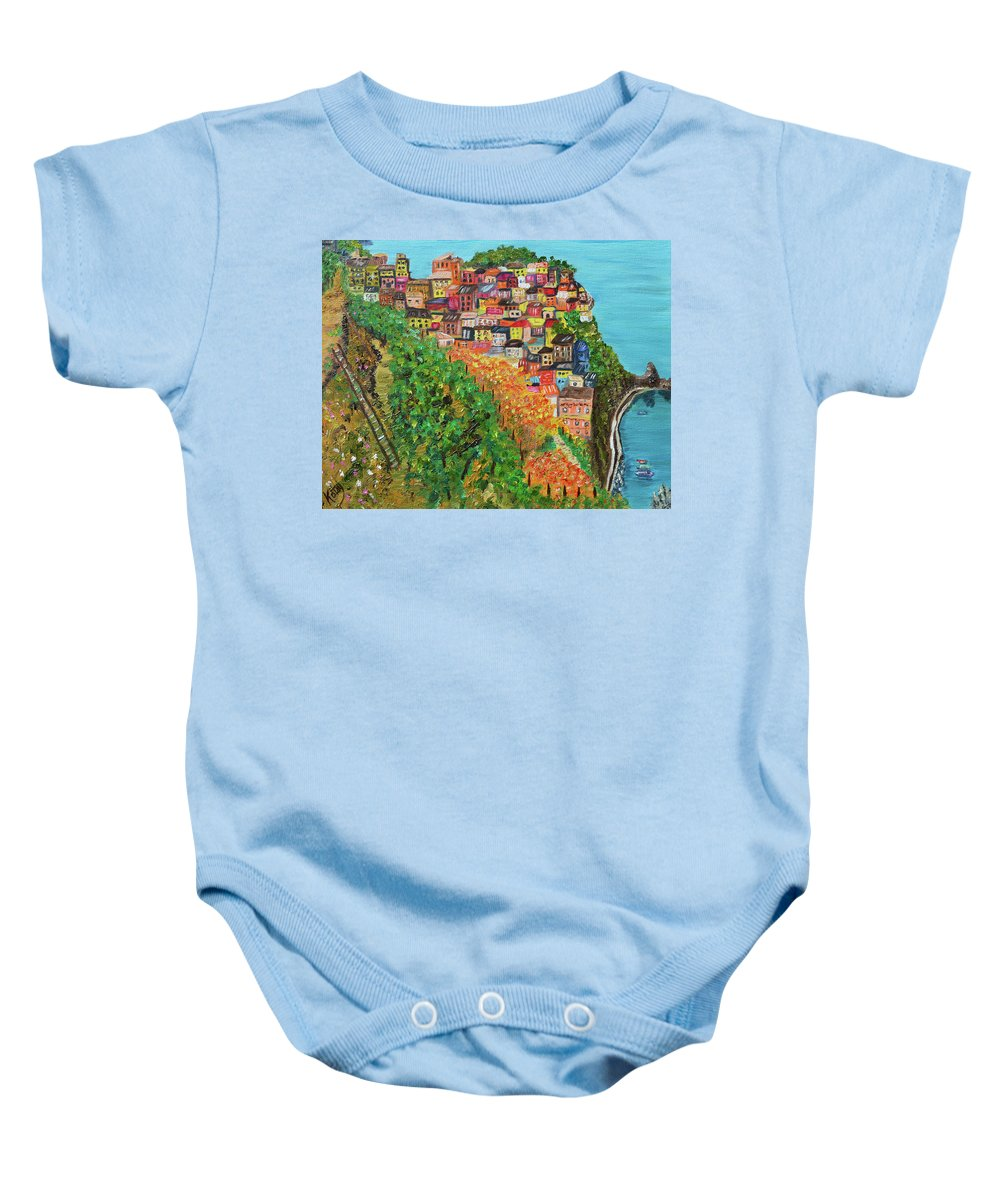 Cinque Terre Baby Onesie featuring the painting Cinque Terre, Ocean Seascape Art by Kathy Symonds