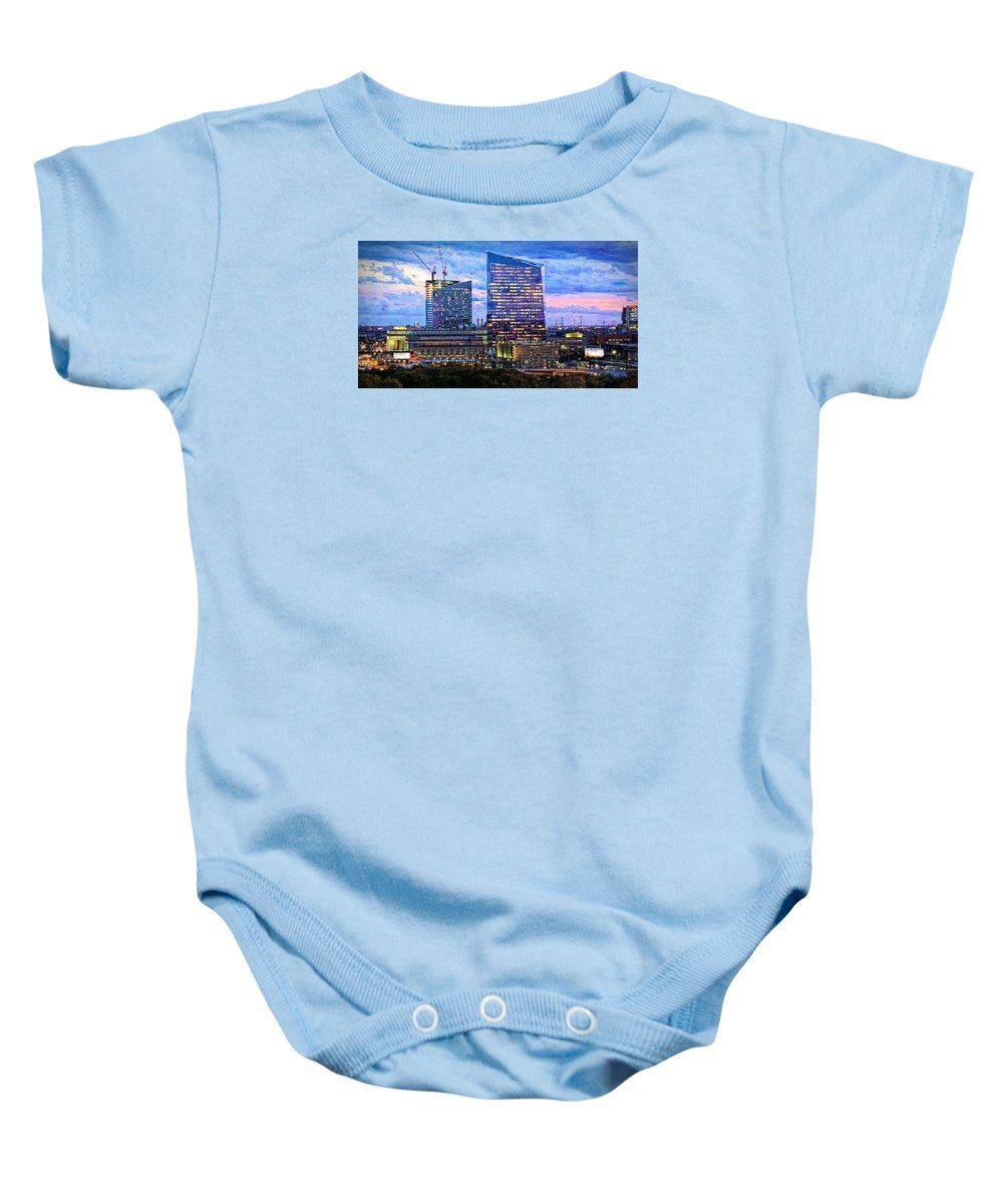 Alicegipsonphotographs Baby Onesie featuring the photograph Cira Centre Skyline At Dusk by Alice Gipson