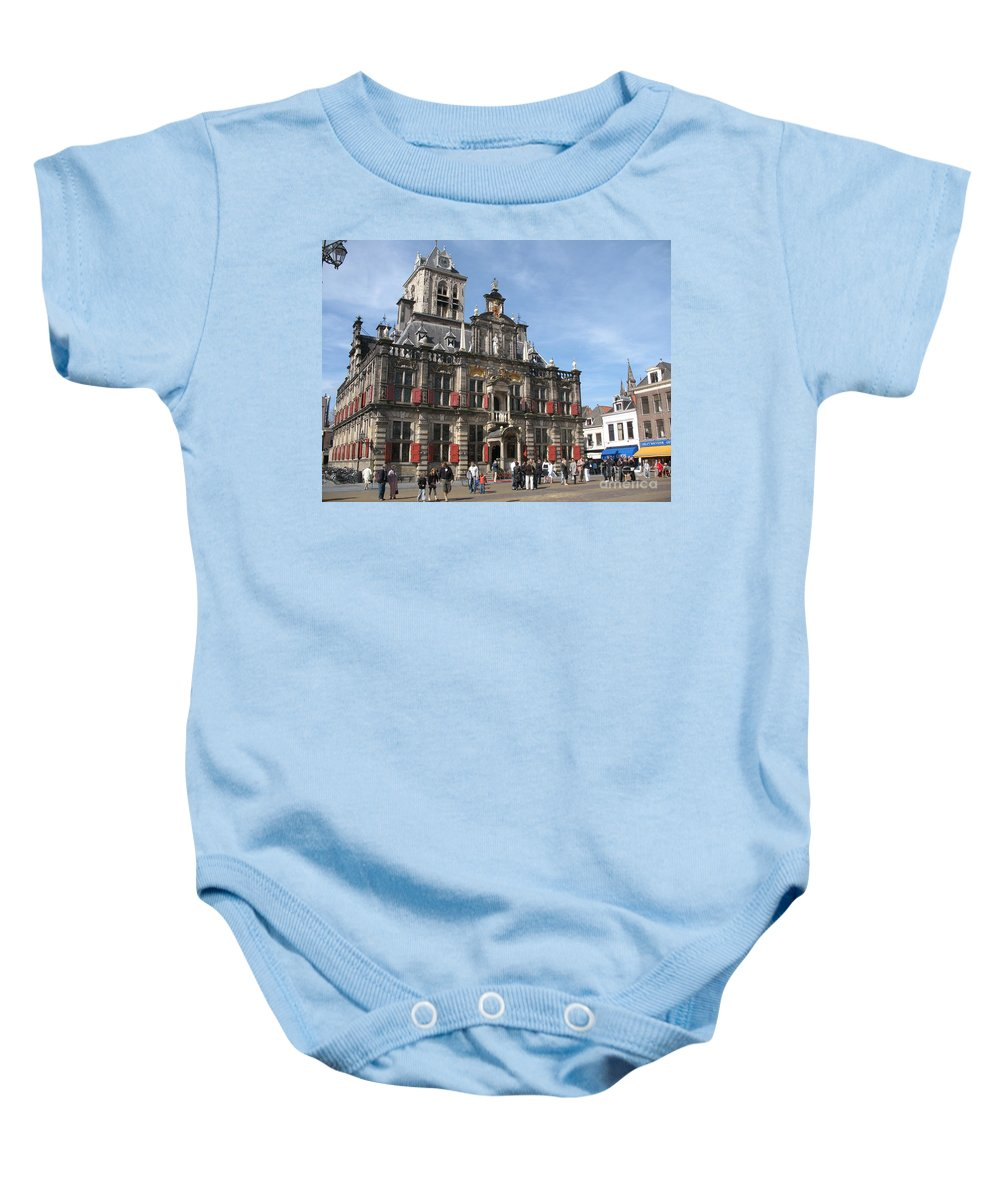 City Hall Baby Onesie featuring the photograph City Hall - Delft - Netherlands by Christiane Schulze Art And Photography