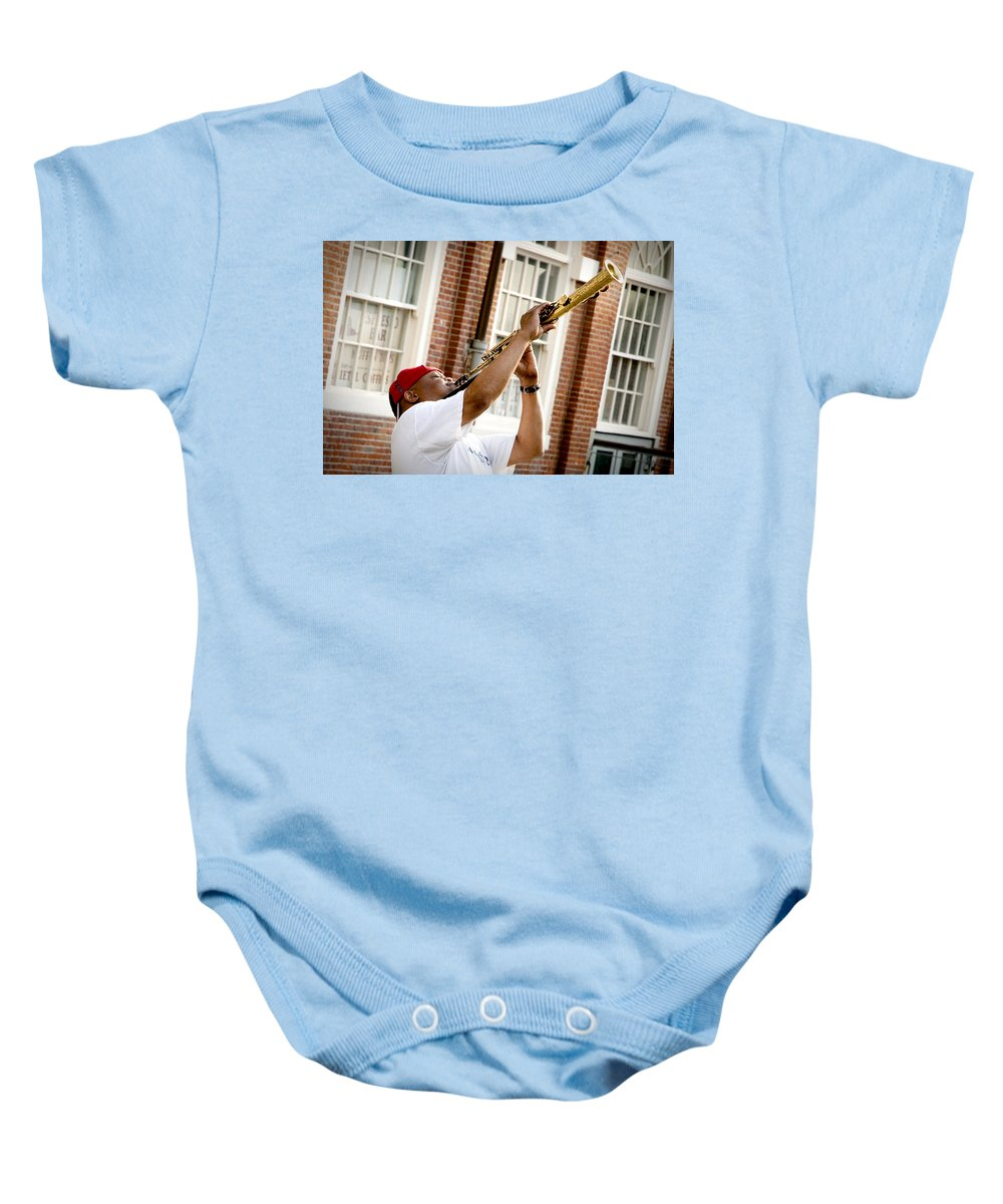 Jazz Baby Onesie featuring the photograph City Jazz by Greg Fortier