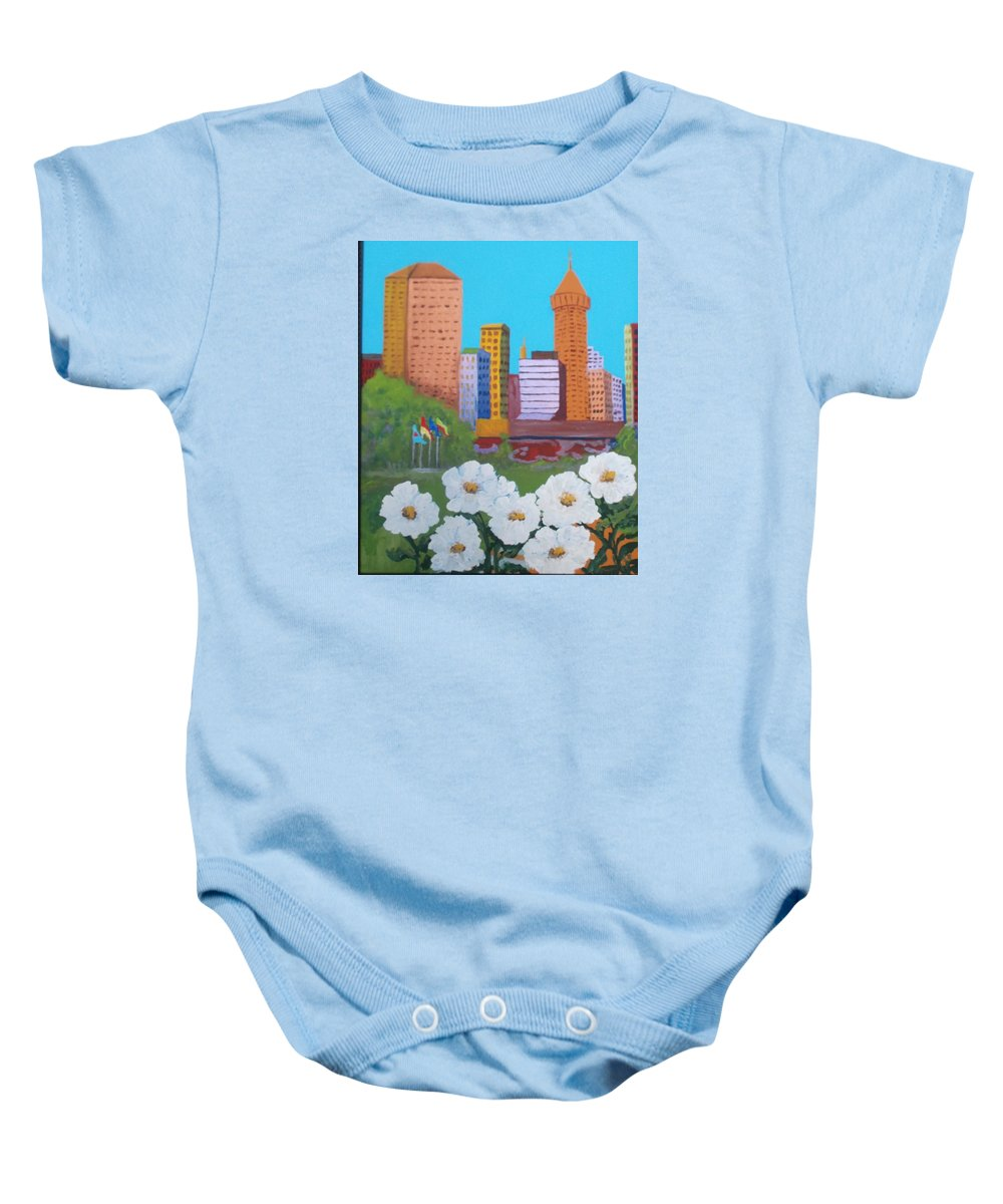 City Scape Baby Onesie featuring the painting City by Patricia Voelz