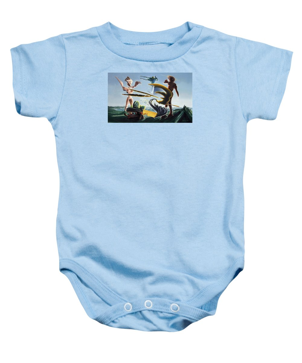 Landscape Baby Onesie featuring the painting Civilization Found Intact by Dave Martsolf
