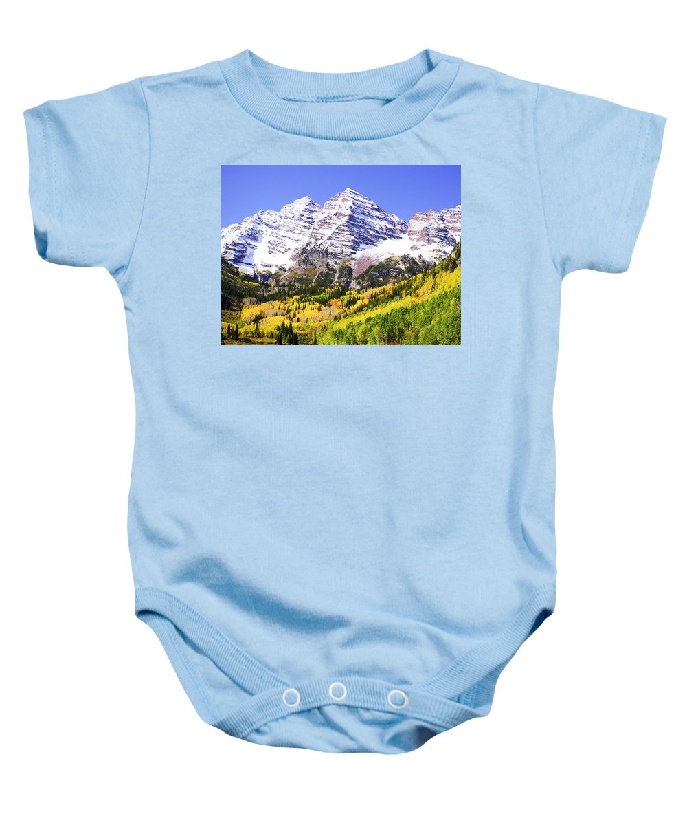 Americana Baby Onesie featuring the photograph Classic Maroon Bells by Marilyn Hunt