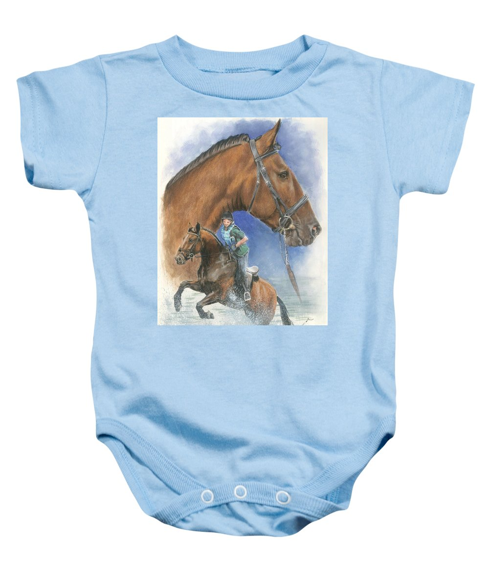 Hunter Jumper Baby Onesie featuring the mixed media Cleveland Bay by Barbara Keith