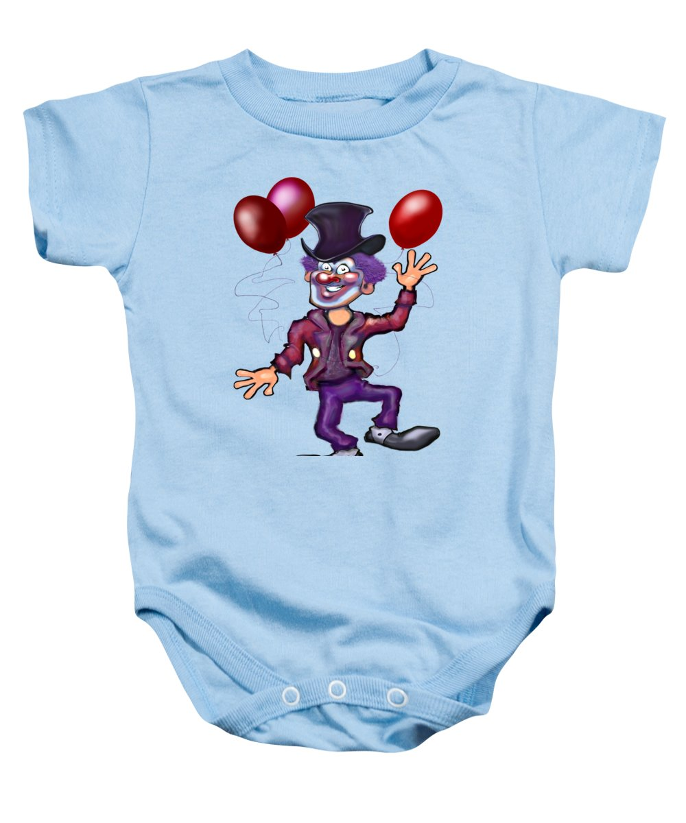 Clown Baby Onesie featuring the digital art Clown by Kevin Middleton