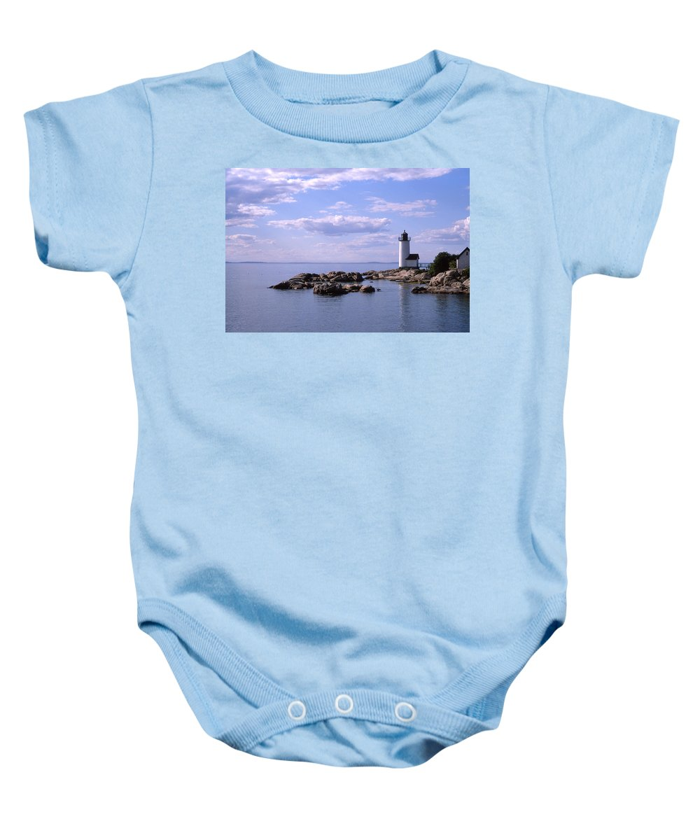 Landscape Lighthouse New England Nautical Baby Onesie featuring the photograph Cnrf0901 by Henry Butz