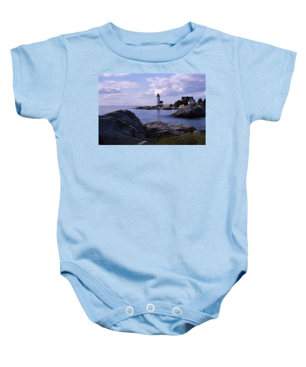 Landscape Lighthouse New England Annisquam Harbor Light Gloucester Baby Onesie featuring the photograph Cnrf0903 by Henry Butz