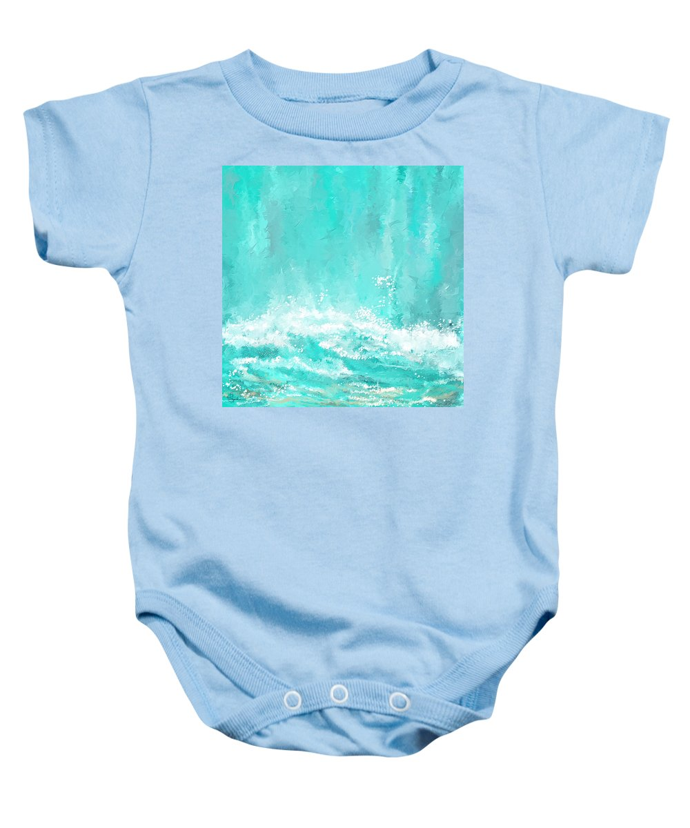 Seascapes Abstract Baby Onesie featuring the painting Coastal Inspired Art by Lourry Legarde