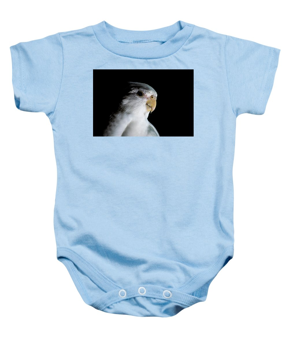 Adorable Baby Onesie featuring the digital art Cockatiel by Gary Ellis