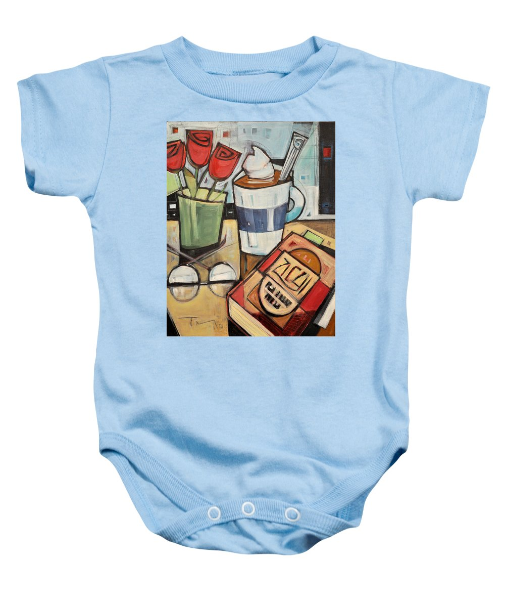 Cocoa Baby Onesie featuring the painting Cocoa And A Good Book by Tim Nyberg