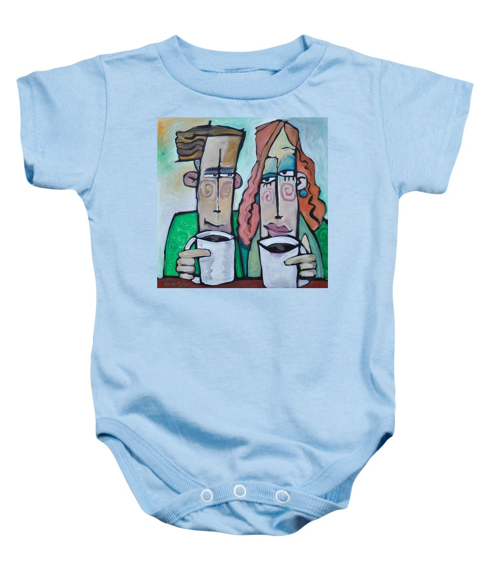 Coffee Baby Onesie featuring the painting Coffee Date by Tim Nyberg