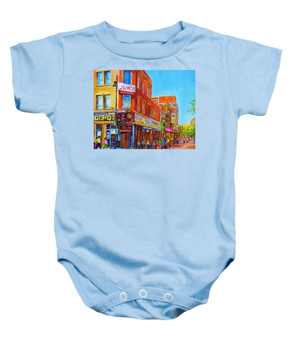 Cityscape Baby Onesie featuring the painting Coffee Depot Cafe And Terrace by Carole Spandau