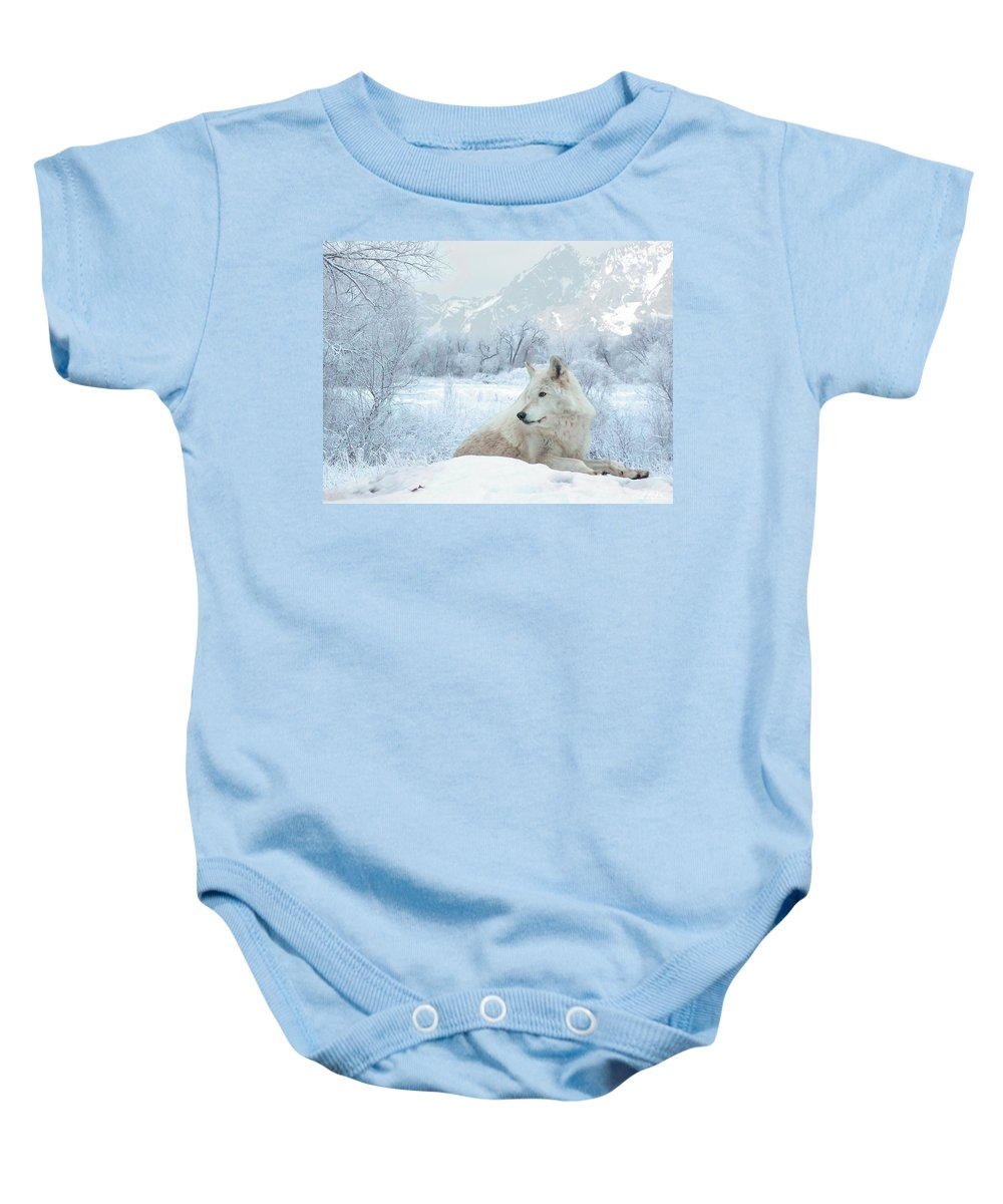 Wolves Baby Onesie featuring the mixed media Cold Longings by Bill Stephens