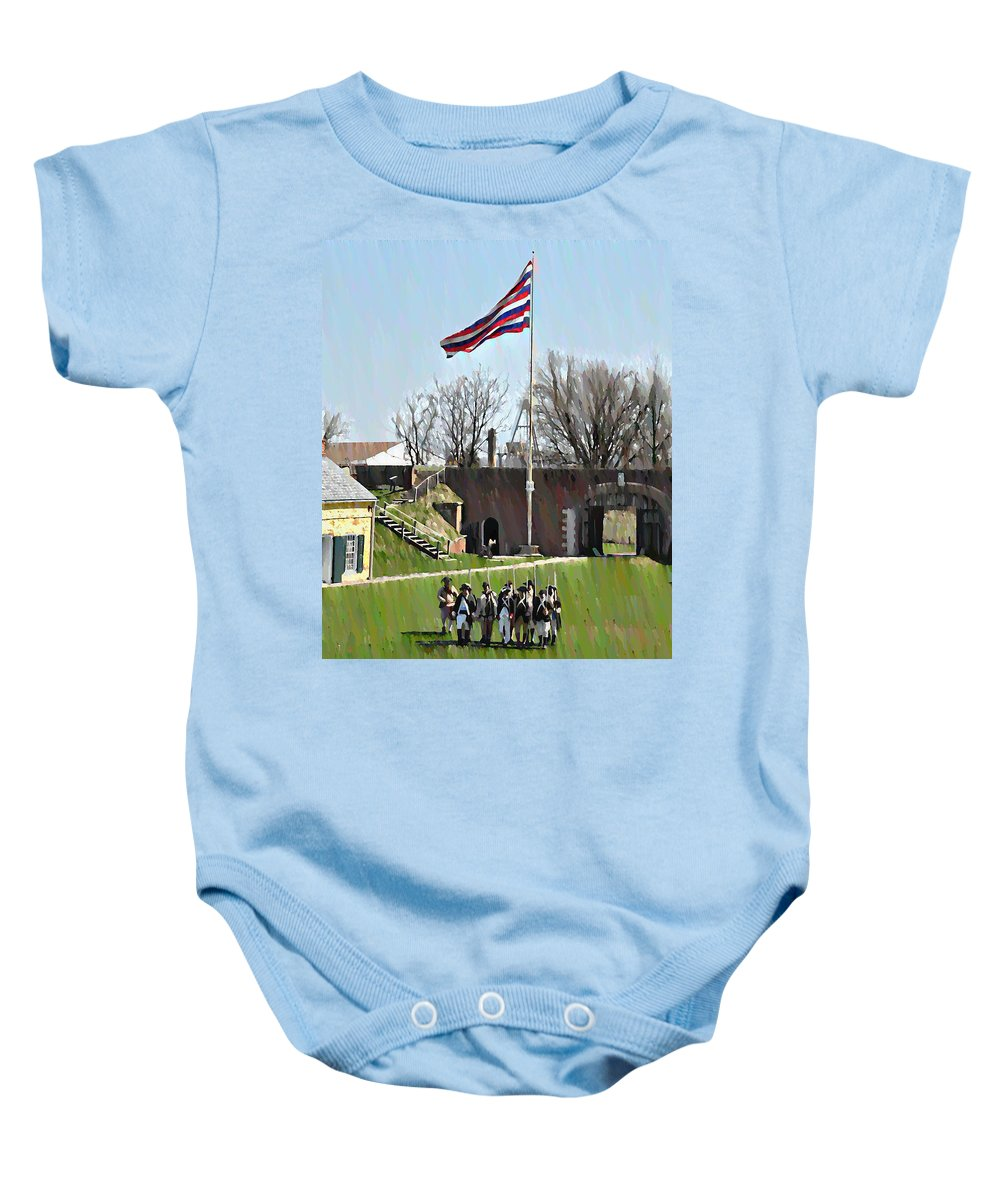 Colonial Baby Onesie featuring the photograph Colonial Soldiers by Bill Cannon