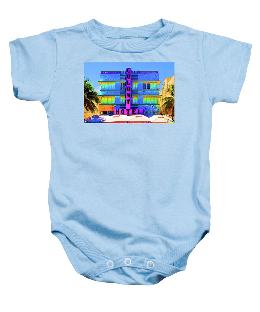 Colony Baby Onesie featuring the photograph Colony Hotel Palm by Jost Houk