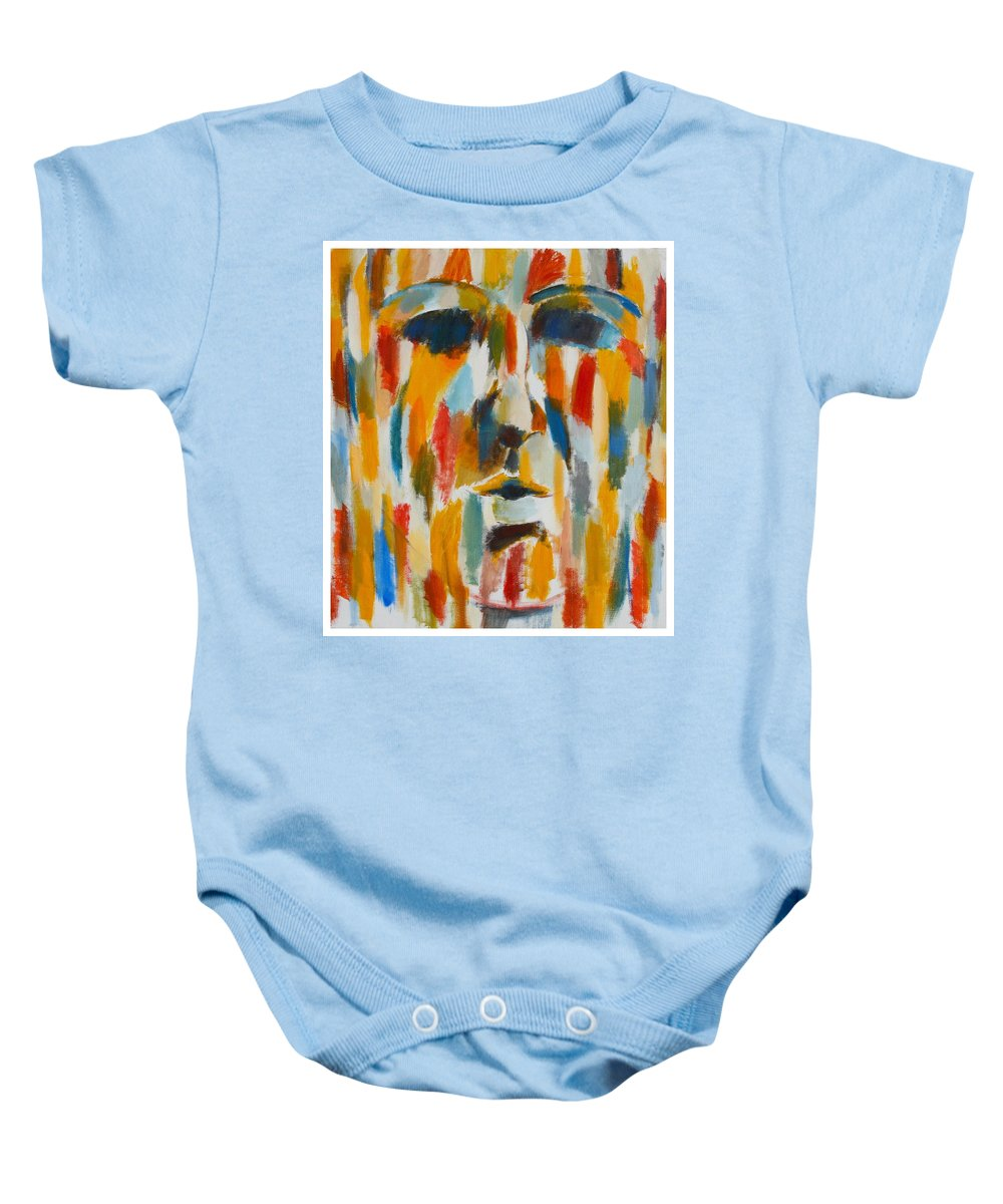 Yellow Baby Onesie featuring the painting Color Blind by Habib Ayat