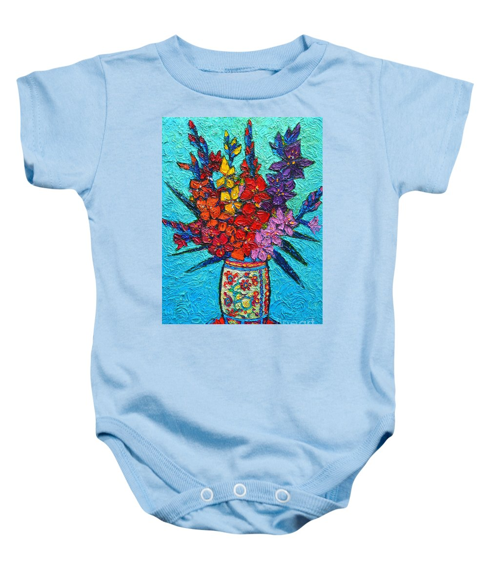 Gladiolus Baby Onesie featuring the painting Colorful Gladiolus by Ana Maria Edulescu