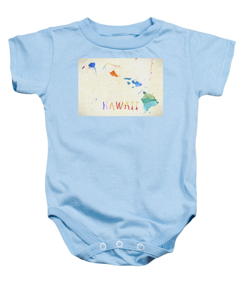Colorful Hawaii Map Baby Onesie featuring the painting Colorful Hawaii Map by Dan Sproul