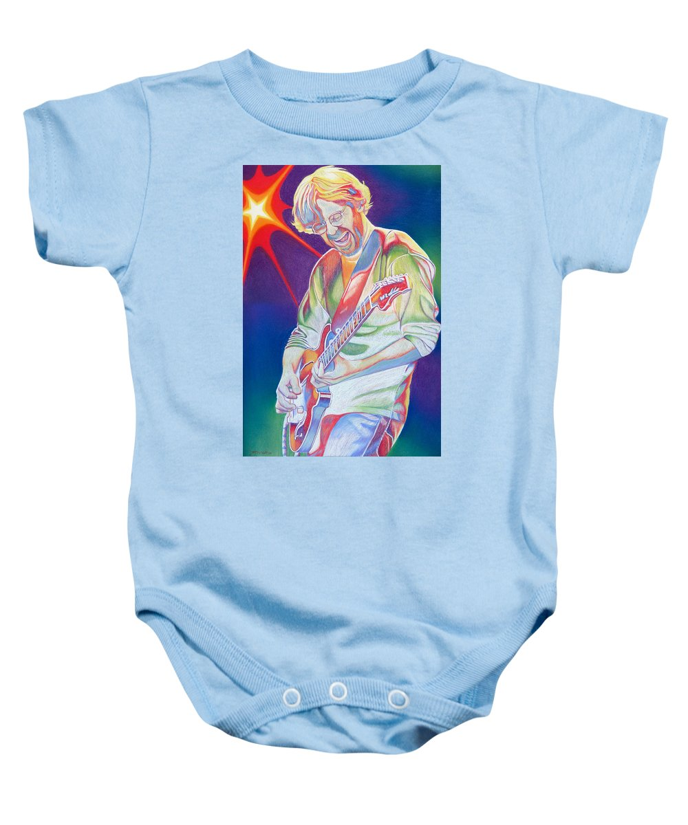 Phish Baby Onesie featuring the drawing Colorful Trey Anastasio by Joshua Morton