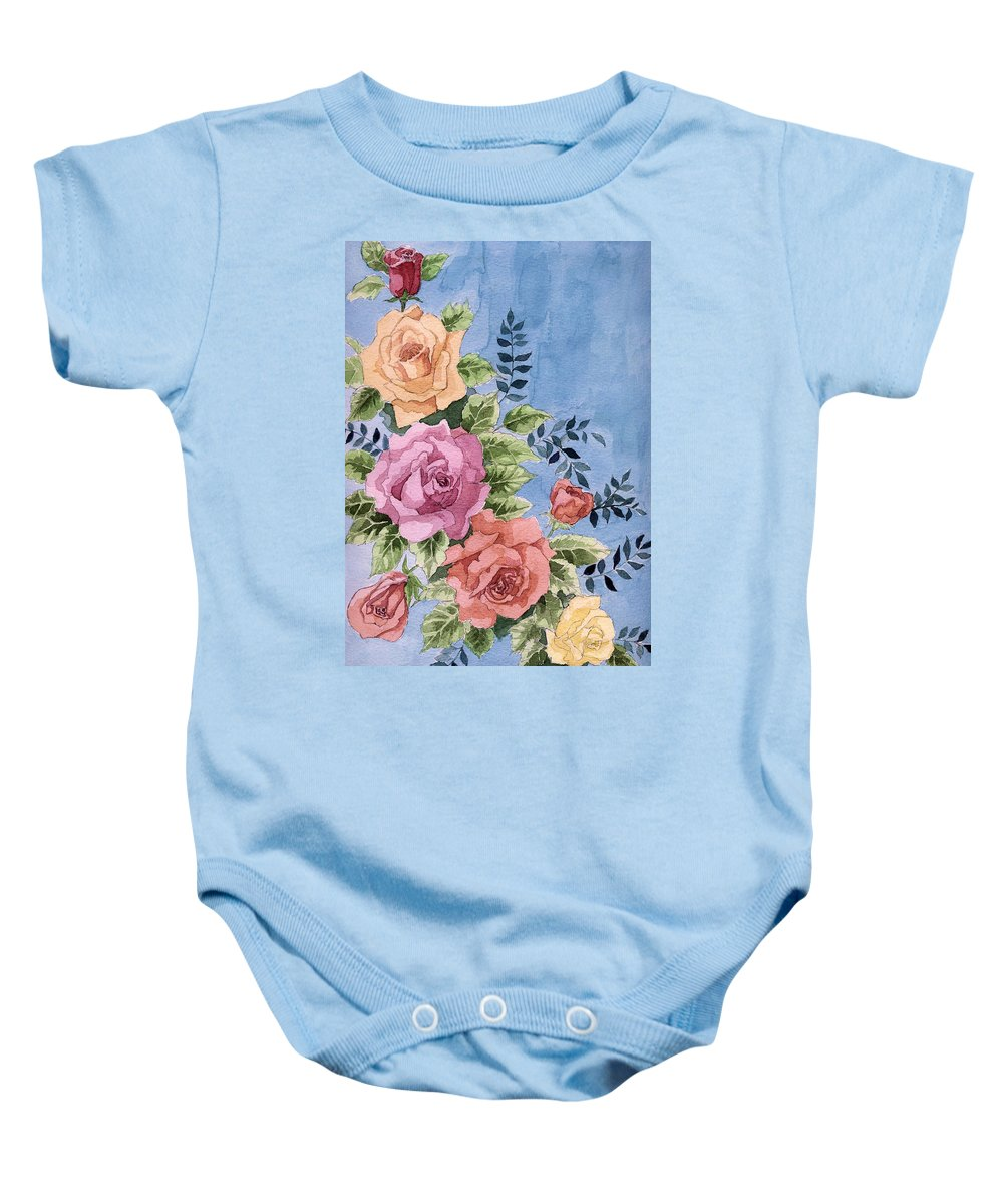 Roses Baby Onesie featuring the painting Colorfull Roses by Alban Dizdari