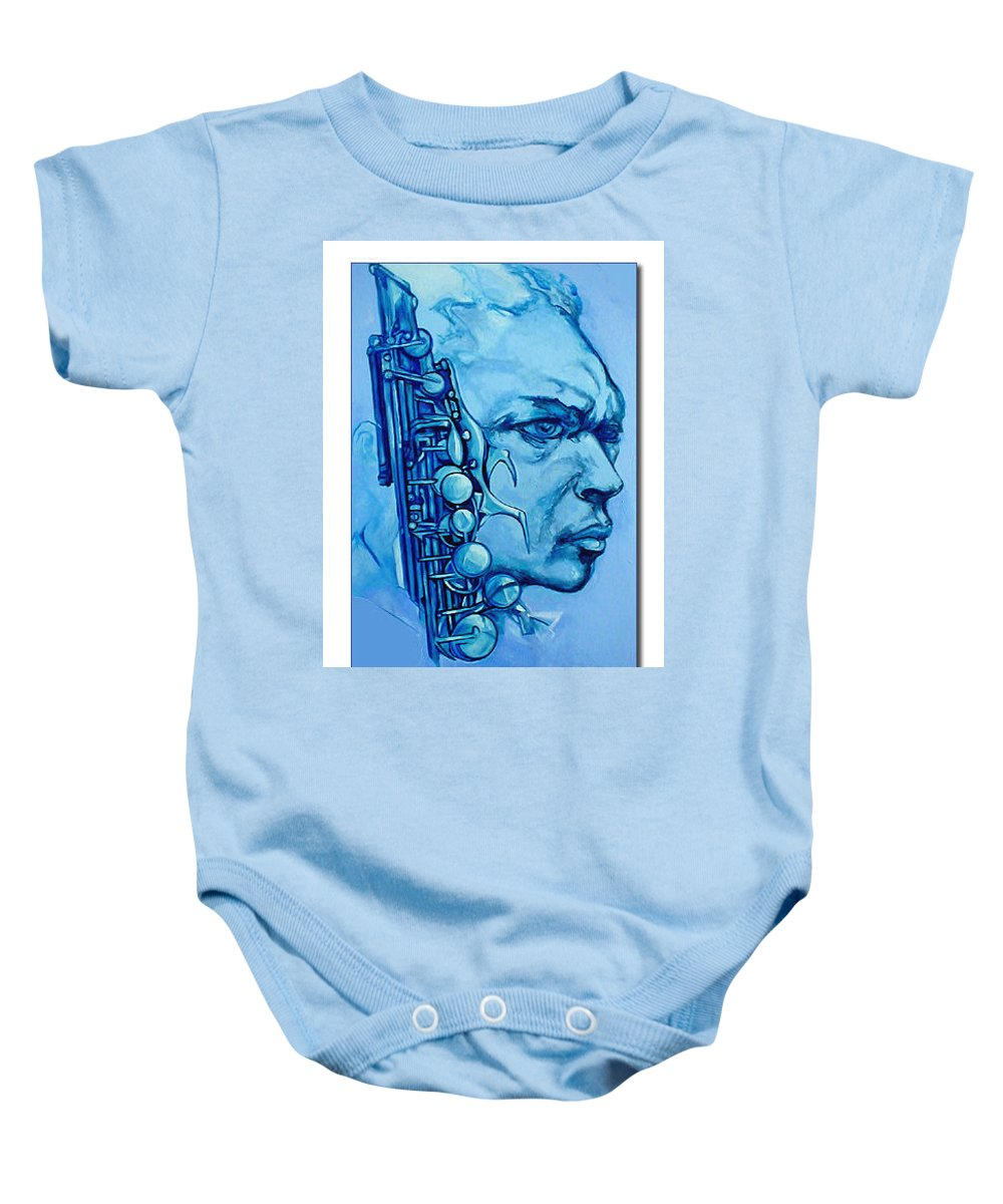 Original Fine Art By Lloyd Deberry Baby Onesie featuring the painting Coltrane by Lloyd DeBerry