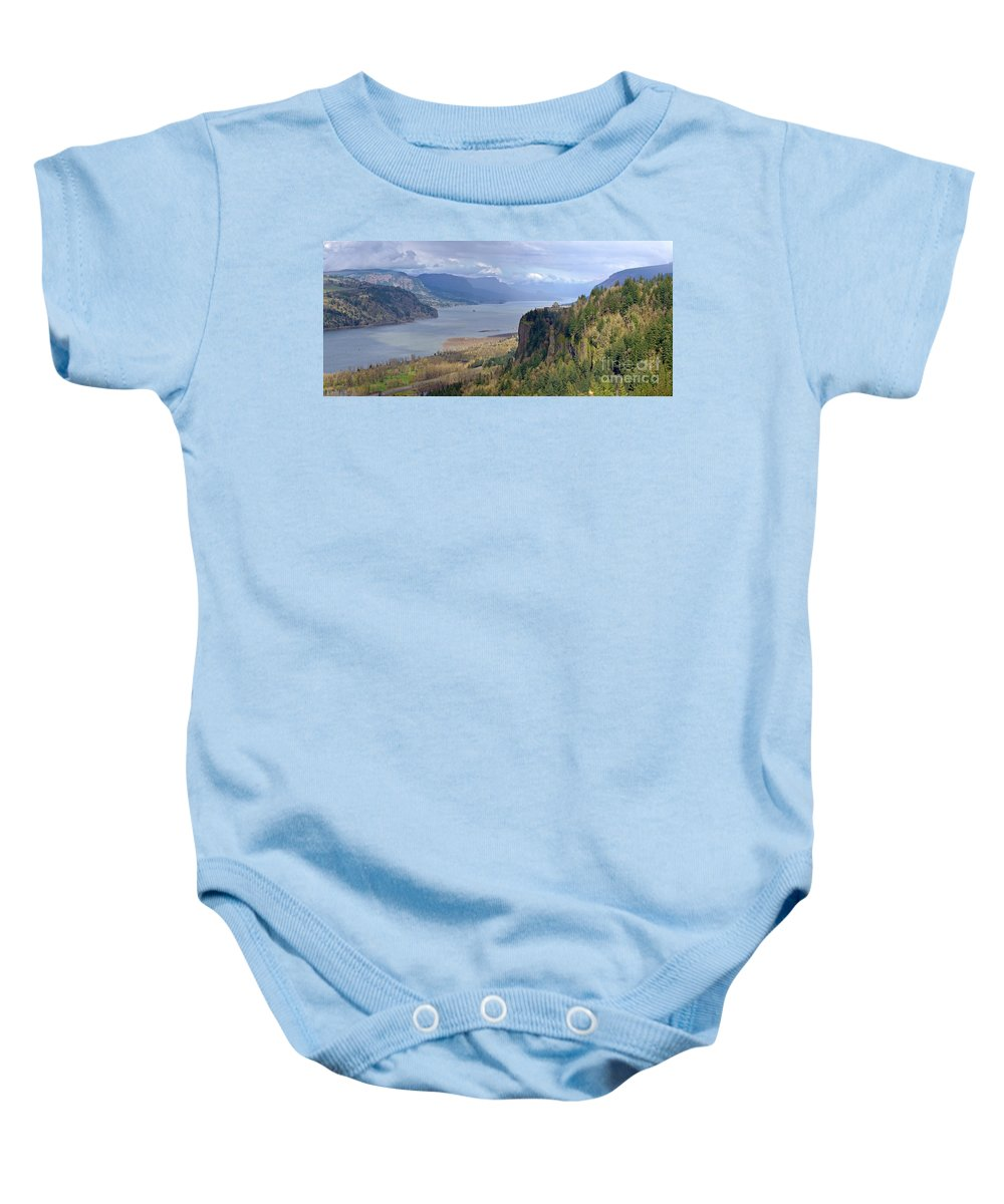 Rainbow Baby Onesie featuring the photograph Columbia River Gorge Oregon State Panorama. by Gino Rigucci