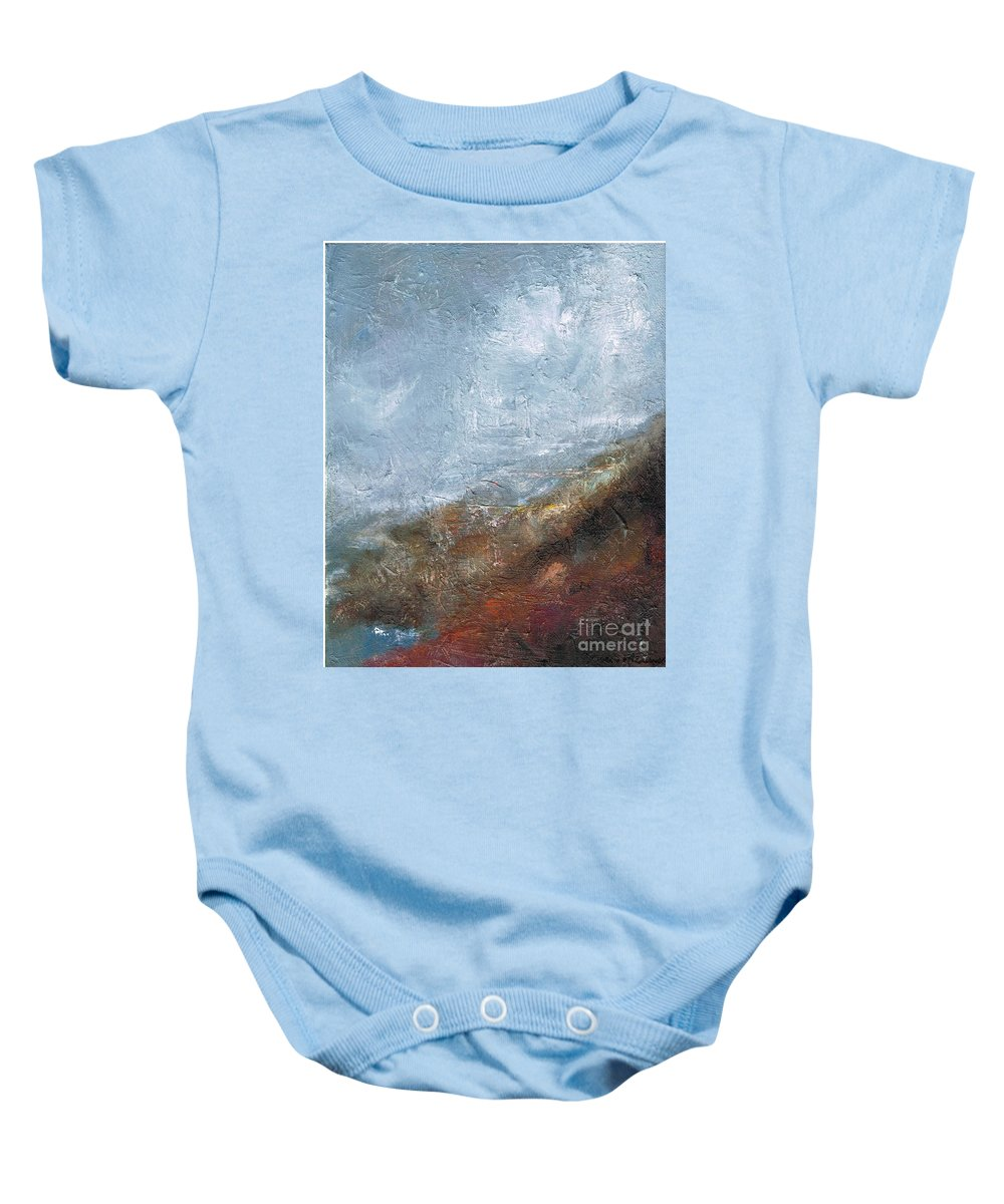 Abstract Baby Onesie featuring the painting Coming Out Of A Fog by Frances Marino
