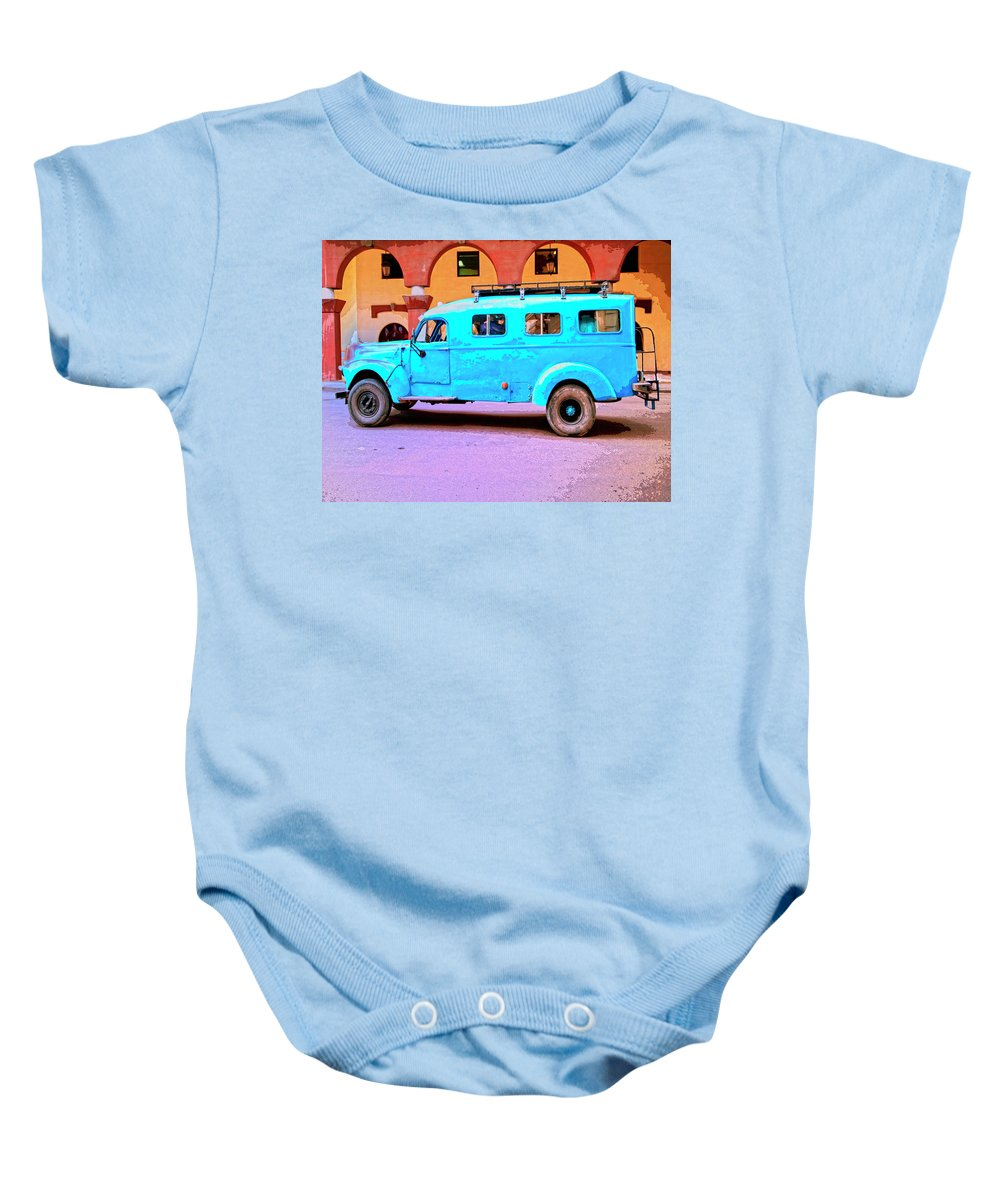 Command Vehicle Baby Onesie featuring the mixed media Command Vehicle by Dominic Piperata
