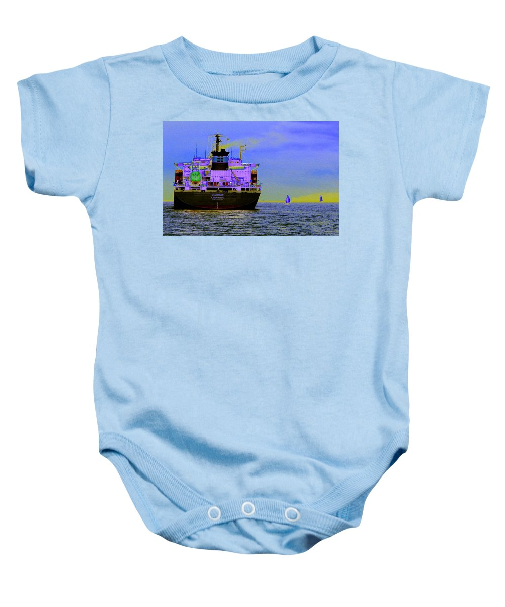 Seattle Baby Onesie featuring the photograph Container Sail by Tim Allen