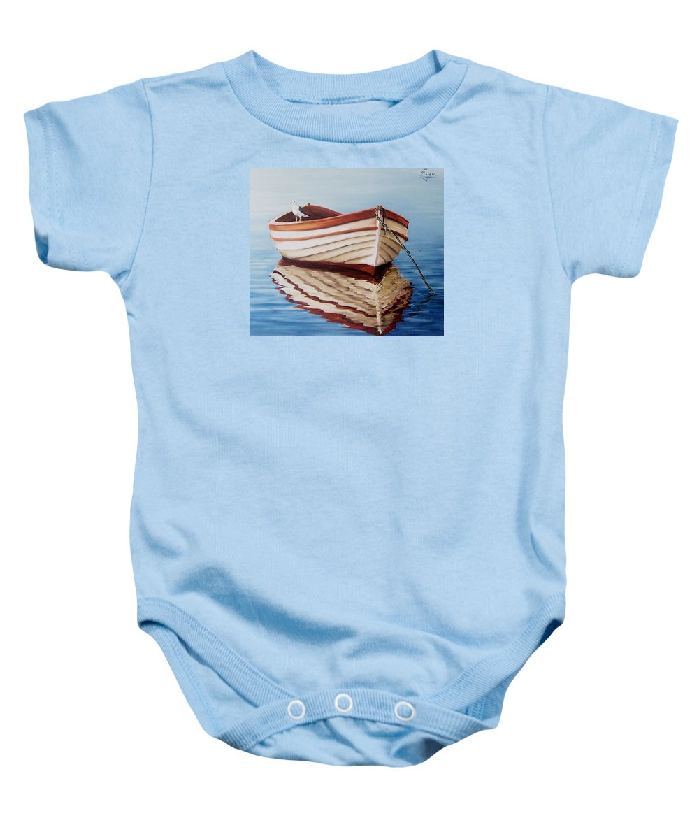 Sea Seascape Boat Reflections Water Ocean Seagull Bird Baby Onesie featuring the painting Contemplative by Natalia Tejera