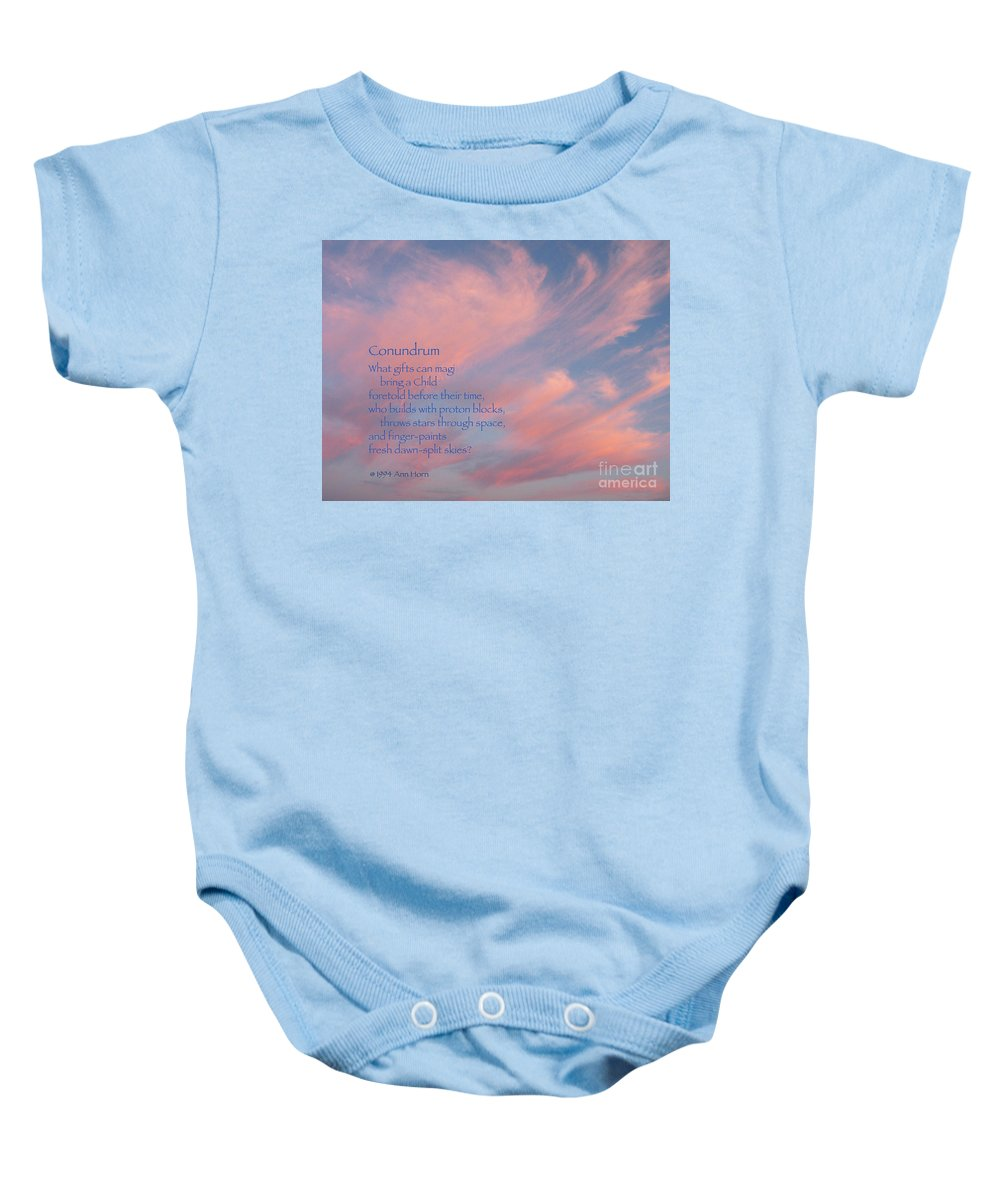 Sky Baby Onesie featuring the photograph Conundrum by Ann Horn