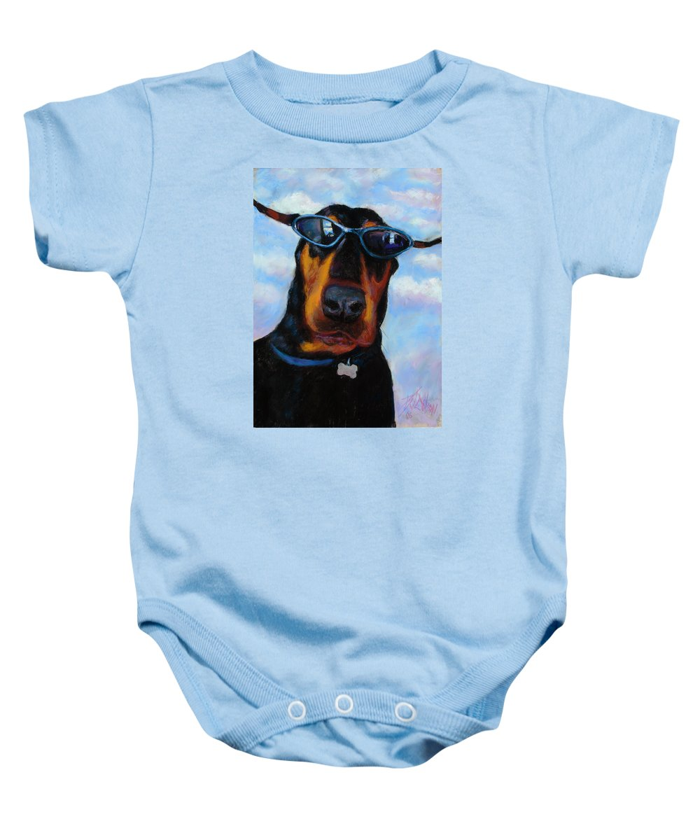 Doberman Pincher Art Baby Onesie featuring the painting Cool Dob by Billie Colson