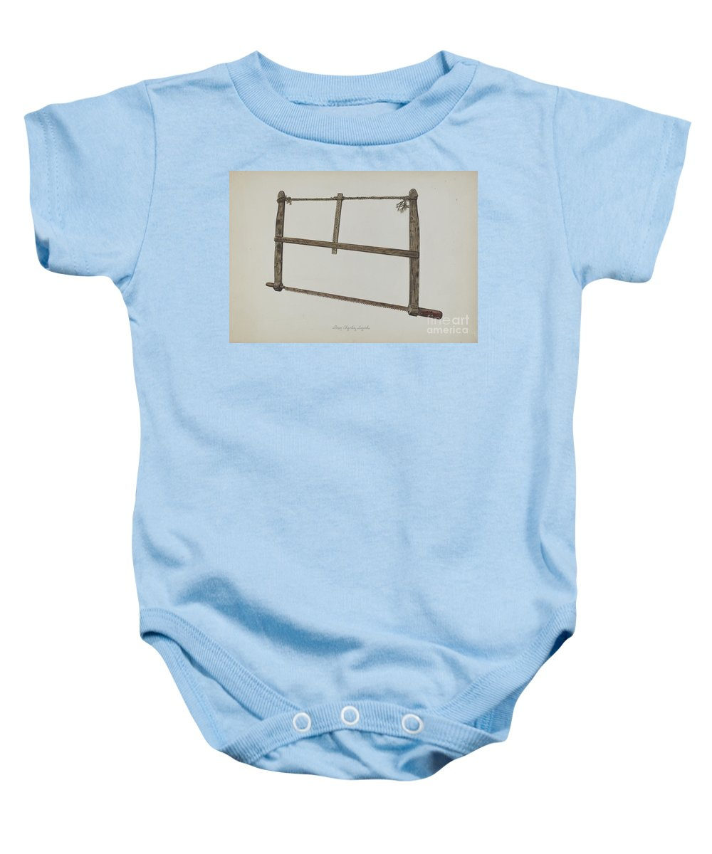Baby Onesie featuring the drawing Coopersmith Saw by Lloyd Charles Lemcke