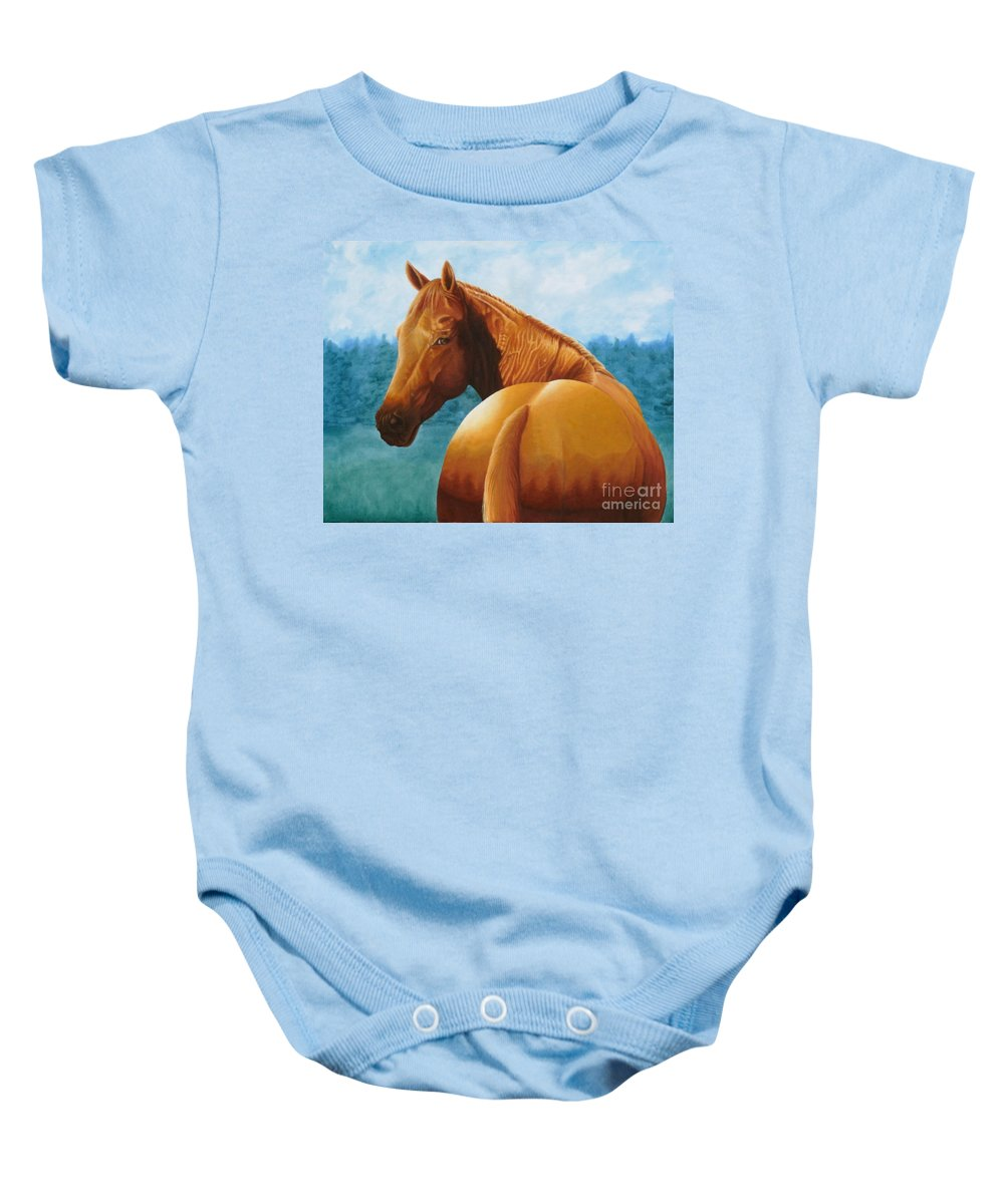 Oil Baby Onesie featuring the painting Copper Bottom - Quarter Horse by Pauline Sharp