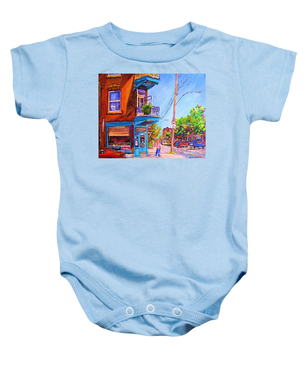 Wilenskys Corner Fairmount And Clark Baby Onesie featuring the painting Corner Deli Lunch Counter by Carole Spandau